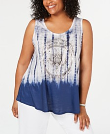 Style & Co Plus Size Printed Swing Tank Top, Created for Macy's