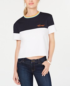 Tommy Hilfiger Colorblocked Cropped Top, Created for Macy's
