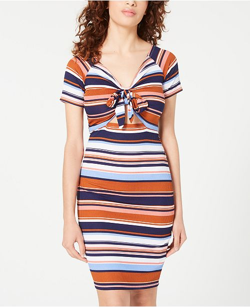 Almost Famous Juniors' Tie-Front Bodycon Dress
