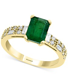 EFFY® Emerald (1-3/8 ct. t.w.) & Diamond (1/3 ct. t.w.) Statement Ring in 14k Gold