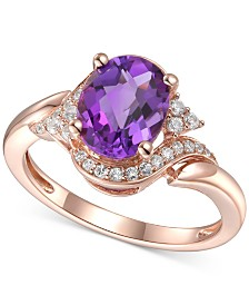 Amethyst (1-5/8 ct. t.w.) & Diamond (1/5 ct. t.w.) Statement Ring in 14k Rose Gold