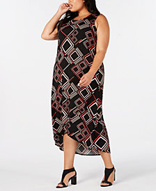 Alfani Plus Size Geo-Print Tulip-Hem Dress, Created for Macy's