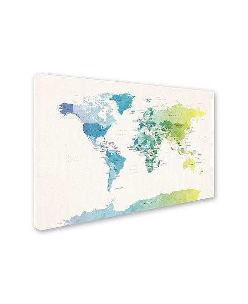 Michael Tompsett \'Watercolour Political Map of the World 2\' Canvas Art - 16  x 24