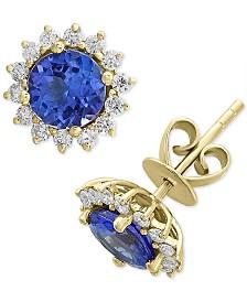 EFFY® Tanzanite (1-1/2 ct. t.w.) & Diamond (1/3 ct. t.w.) Stud Earrings in 14k Gold
