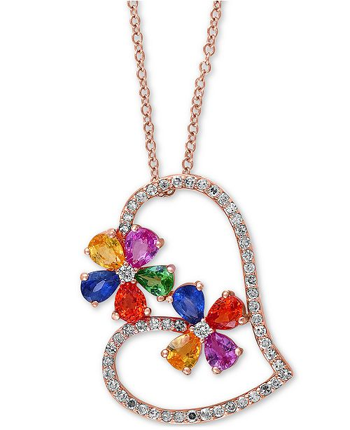 """EFFY Collection EFFY® Multi-Gemstone (2-1/8 ct t.w.) & Diamond (1/4 ct. t.w.) 18"""" Pendant Necklace in 14k Rose Gold"""