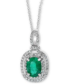 "EFFY® Emerald (1-1/8 ct t.w.) & Diamond (1/4 ct. t.w.) 18"" Pendant Necklace in 14k White Gold"