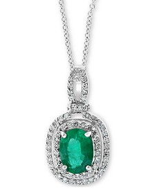 """EFFY® Emerald (1-1/8 ct t.w.) & Diamond (1/4 ct. t.w.) 18"""" Pendant Necklace in 14k White Gold"""