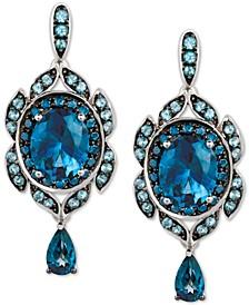 Multi-Gemstone (7-3/8 ct. t.w.) & Blueberry Diamond (5/8 ct. t.w.) Drop Earrings in 14k White Gold