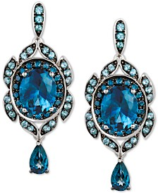 Le Vian® Multi-Gemstone (7-3/8 ct. t.w.) & Blueberry Diamond (5/8 ct. t.w.) Drop Earrings in 14k White Gold