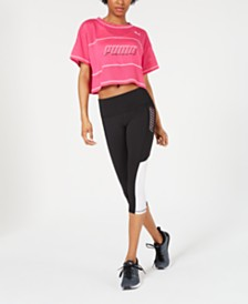 Puma Modern Sports Cotton Mesh Colorblocked Cropped T-Shirt