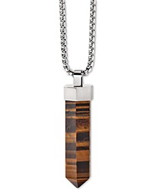 "Men's Faceted Tiger's Eye Pendant Necklace in Stainless Steel; 26"" + 2"" Extender"