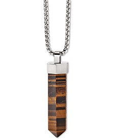 "Bulova Men's Faceted Tiger's Eye Pendant Necklace in Stainless Steel; 26"" + 2"" Extender"