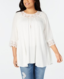 NY Collection Plus Size Lace-Trim Top