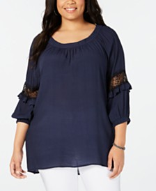 NY Collection Plus Size Statement-Sleeve Top