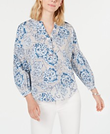 Tommy Hilfiger Printed Blouson-Sleeve Top, Created for Macy's