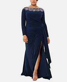 Plus Size Embellished-Neck Gown