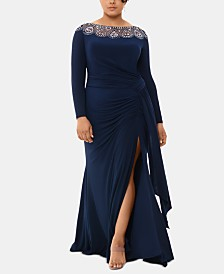 XSCAPE Plus Size Embellished-Neck Gown