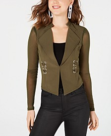 Juniors' Illusion Lace-Up Blazer, Created for Macy's