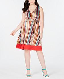 Trendy Plus Size Striped Faux-Wrap Dress