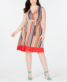 Love Squared Trendy Plus Size Striped Faux-Wrap Dress