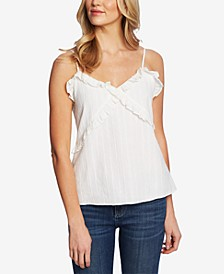 Ruffled Metallic-Striped Cami