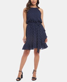 Karen Kane Ruffled Faux-Wrap Dress