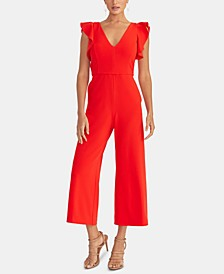 Ruffled-Sleeve Cropped Jumpsuit
