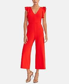 RACHEL Rachel Roy Ruffled-Sleeve Cropped Jumpsuit