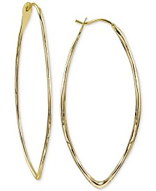 Argento Vivo Hammered Oval Hoop Earrings