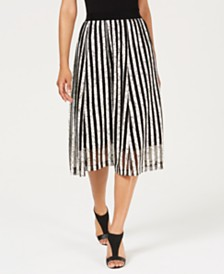 Alfani Textured Striped A-Line Skirt, Created For Macy's