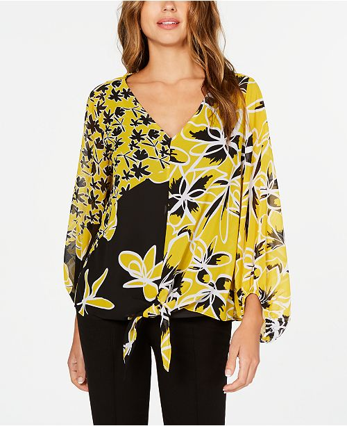 Alfani Floral-Print Tie-Front Top, Created for Macy's