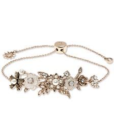 Marchesa Gold-Tone Crystal & Imitation Mother-of-Pearl Flower Slider Bracelet