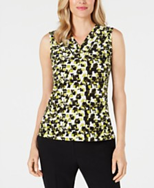 Kasper Petite V-Neck Printed Top