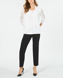 Kasper Textured Sleeveless Top, Sheer Cardigan & Stretch Ankle Pants