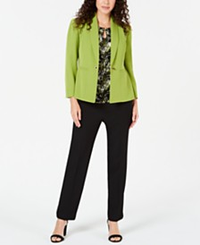 Kasper Single-Button Jacket, Printed Top & Stretch Pants