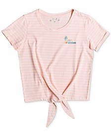 Roxy Big Girls Tie-Front Striped Cotton T-Shirt