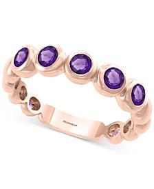 EFFY® Amethyst Bezel Statement Ring (3/8 ct. t.w.) in 14k Rose Gold