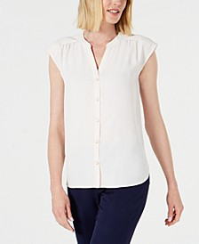 Shirred-Seam Button-Up Blouse