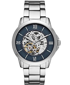 Mens Silver Tone Bracelet Automatic Watch 44mm