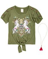 fdef83e02 Belle Du Jour Big Girls 2-Pc. Unicorn-Print Top & Necklace Set