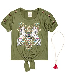 Belle Du Jour Big Girls 2-Pc. Unicorn-Print Top & Necklace Set