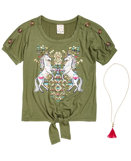 Belle Du Jour Big Girls 2-Pc. Unicorn-Print Top & Necklace Set