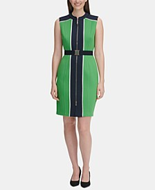 Petite Belted Colorblocked Sheath Dress