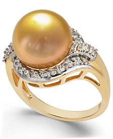 Cultured Golden South Sea Pearl (12mm) and Diamond (5/8 ct. t.w.) Ring in 14k Gold