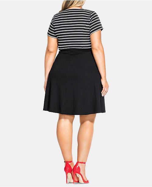 Trendy Plus Size Sailor Stripe A-Line Dress