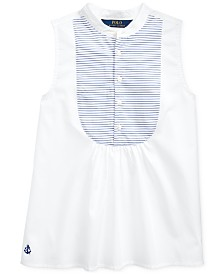 Polo Ralph Lauren Big Girls Cotton Broadcloth Bib Shirt