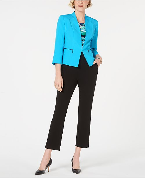 Kasper Kiss-Front Blazer, Printed Top & Draped Pants