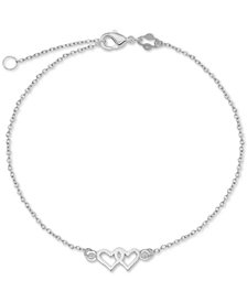 Double-Heart Chain Ankle Bracelet in Sterling Silver