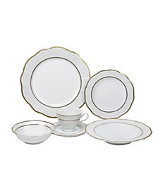 24 Piece Wavy Fine China Lattice Dinnerware