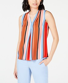 Bar III Striped Inverted-Pleat Blouse, Created for Macy's